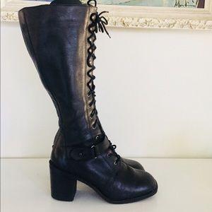Vintage Black Leather Lace Up Boots 7